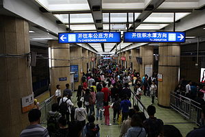 Beijing Subway - Line 2 platform at Xizhimen