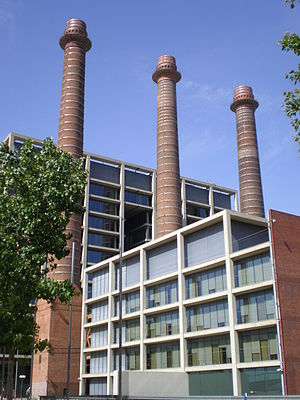 Avinguda del Paral·lel - Former AEG -Barcelona Traction factory chimneys and the building of Fecsa-Endesa in Avinguda del Paral·lel