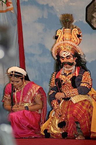 Draupadi - Draupadi and Bhima, as depicted in yakshagana.