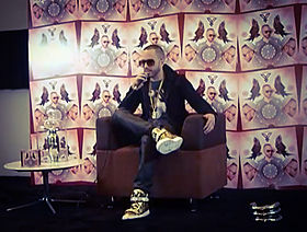 Yandel at a press conference in Mexico City