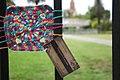 Yarn bomb - granny square on fence (5521346022).jpg