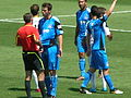 Yellow card at Galaxy at Earthquakes 2010-08-21 2.JPG