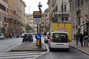 Congestion pricing - Rome's Traffic Limited Zone (ZTL) entry control point with automatic surveillance.