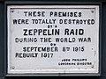 Zeppelin Raid plaque, 61 Farringdon Road, London, England, IMG 5217 edit.jpg
