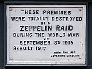 Zeppelin Raid plaque, 61 Farringdon Road, London, England, IMG 5217 edit