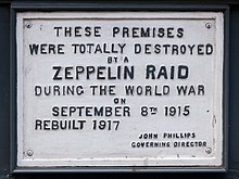 Zeppelin Raid plaque, 61 Farringdon Road, London, England, IMG 5217 edit.jpg