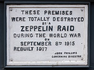 L-13 Light Industrial Workshop - Image: Zeppelin Raid plaque, 61 Farringdon Road, London, England, IMG 5217 edit