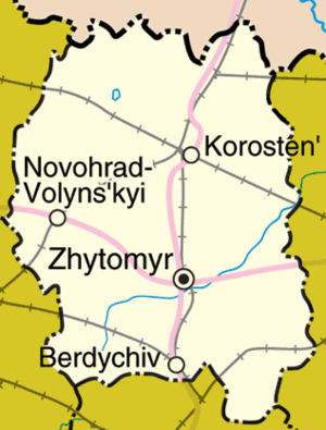 Zhytomyr Oblast - Detailed map of Zhytomyr Oblast.