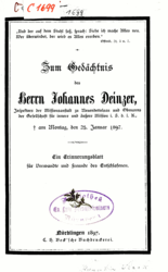 Zum Gedächtnis des Herrn Johannes Deinzer