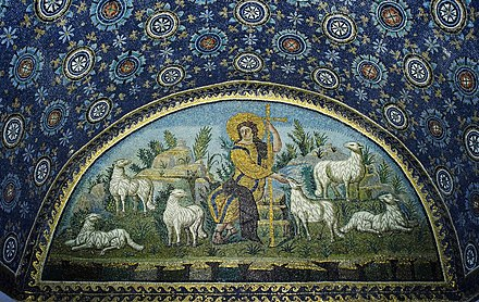 "The Good Shepherd mosaic in the Mausoleum of Galla Placidia, Ravenna ""The good Shepherd"" mosaic - Mausoleum of Galla Placidia.jpg"