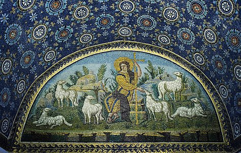"""The good Shepherd"" mosaic in mausoleum of Galla Placidia. UNESCO World heritage site. Ravenna, Italy. 5th century A.D."