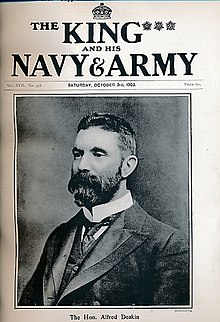 'Alfred Deakin' on the front cover of 'The King and his Navy & Army', 1903.jpg