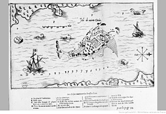 Saint Croix Island, Maine - The island as charted by Champlain in 1607