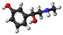 Ball-and-stick model of the phenylephrine molecule