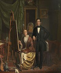 (Zelf)portret van het echtpaar Kiers-Haanen door Elizabeth Haanen (1845).jpg