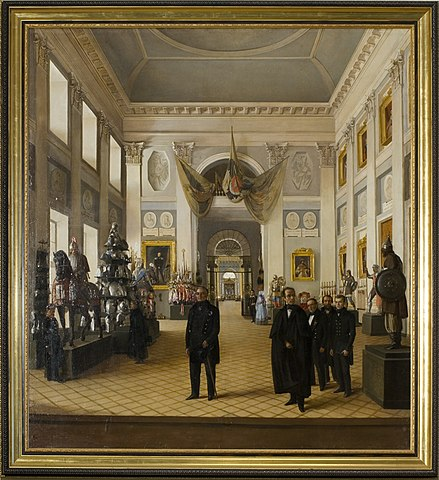 Бурдин Н. А. Оружейная палата в Кремле. Групповой портрет сотрудников во главе с М.Н.Загоскиным и А.Ф.Вельтманом (1846 год)