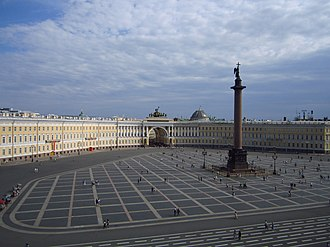 Saint Petersburg - Palace Square backed by the General staff arch and building, as the main square of the Russian Empire it was the setting of many events of historic significance