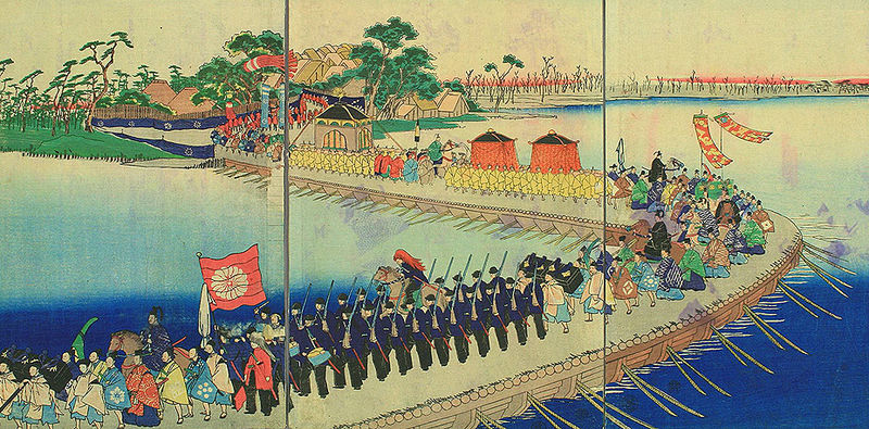 Emperor Meiji leaving Kyoto and moved to Tokyo.