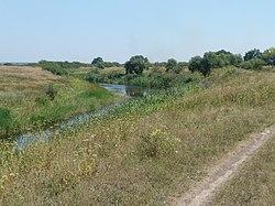 Река Волчья. Вид на старый пляж. Август 2008 г. - panoramio.jpg