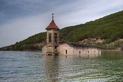 The submerged St. Nicholas Church in Mavrovo