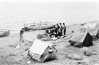 "Yal (boat) - ""Yal-6"", six-oars yal, on the shore of lake Bolon."