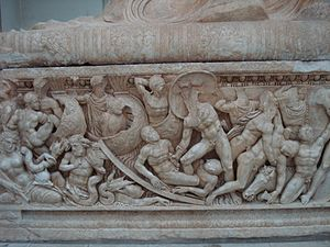Al-Rastan - Roman sarcophagus of Arethuse, 3rd century BCE, found in the Rastan area, preserved in the National Museum of Damascus