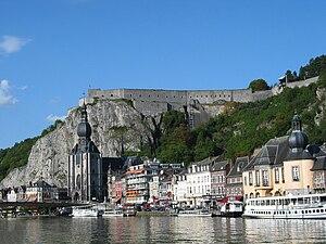 Battle of Dinant - Image: 0 Dinant Collégiale St Perpète et la citadelle (1)