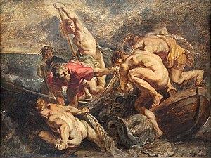 Miraculous catch of fish - Miraculous draught of fish (1610) oil on wood by Peter Paul Rubens.