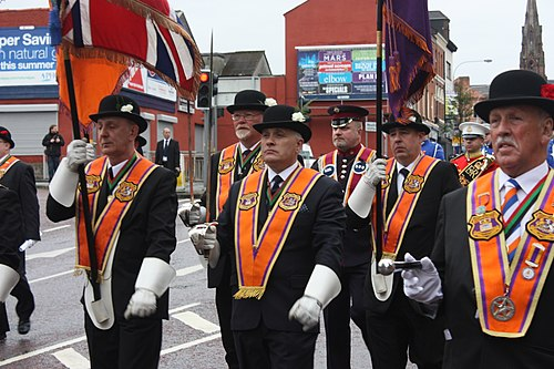 Orangemen in full regalia on 12 July 2011 in Belfast 12 July in Belfast, 2011 (012).JPG