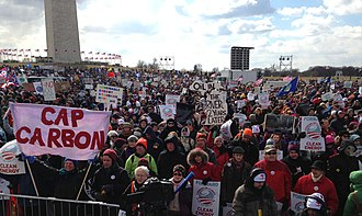 Keystone Pipeline - An estimated crowd of 35,000–50,000 gathers near the Washington Monument in February 2013 to protest the Keystone XL pipeline and support action on climate change