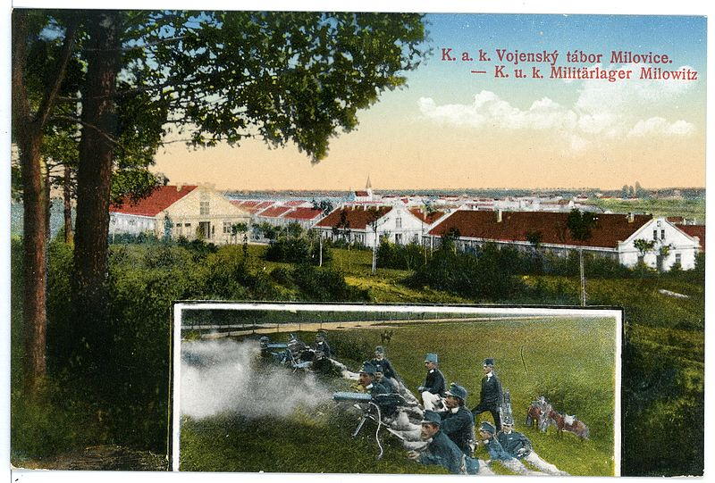File:15476-Milowitz-1913-Militärlager mit Maschinengewehr-Abteilung-Brück & Sohn Kunstverlag.jpg