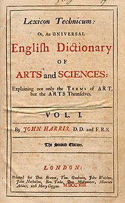 Harris' Lexicon Technicum, title page of 2nd edition, 1708