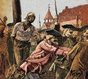 New York Conspiracy of 1741 - Image: 1741 Slave Revolt burned at the stake NYC