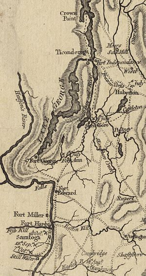 Siege of Fort Ticonderoga (1777) - Detail of a 1780 map showing the Ticonderoga area, with battle sites marked