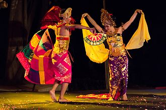 Dance in Indonesia - Oleg Balinese dance performed by a pair of dancers.