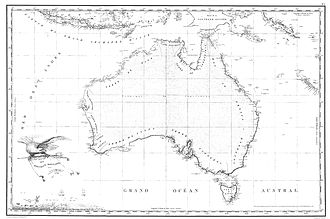 Baudin expedition to Australia - Freycinet Map of 1811 – The first full map of Australia to be published