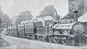 Shrewsbury Abbey railway station - 1872-74 'Potts' train at Abbey Station behind a Bury, Curtis and Kennedy 0-4-2 locomotive