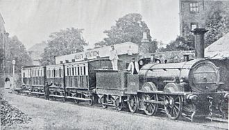 Bury, Curtis and Kennedy - Potteries, Shrewsbury and North Wales train at Abbey Station, Shrewsbury, behind an 1848 Bury, Curtis and Kennedy 0-4-2 locomotive