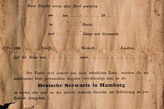 Message in a bottle - Image: 18860612 Paula message in bottle
