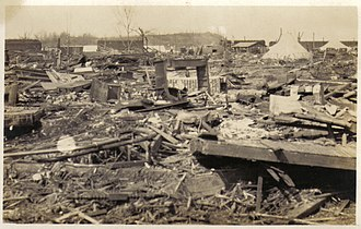 Tri-State Tornado - Ruins of the town of Griffin, Indiana, where 26 people were killed.