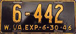1946 West Virginia license plate.JPG