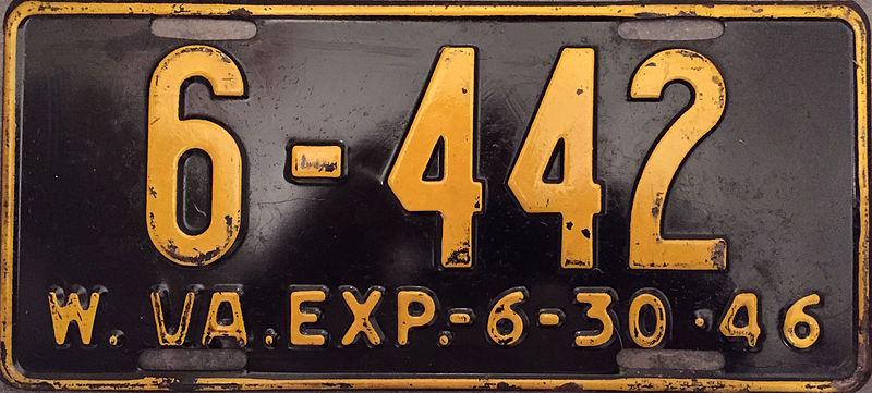 File:1946 West Virginia license plate.JPG