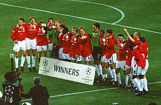 Ole Gunnar Solskjær - The Manchester United team, with Solskjær, celebrating after winning the UEFA Champions League in 1999.