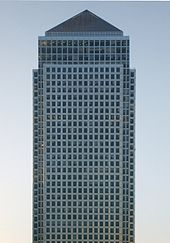 Picture of One Canada Square set against a clear blue sky.