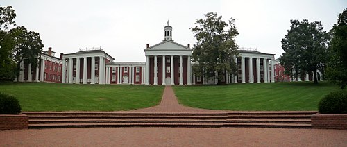 Iconic buildings of Washington and Lee University. From left to right: Newcomb Hall, Payne Hall, Washington Hall (center), Robinson Hall, Tucker Hall. 2008-0831-WashingtonandLeeUniversity.jpg