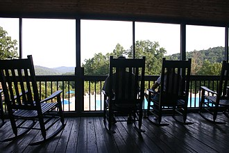 Shawnee State Park (Ohio) - Rocking chairs on the second floor of the Shawnee State Park lodge overlook Turkey Creek Lake.