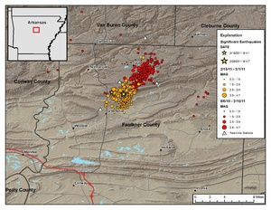 Map of earthquakes in Arkansas