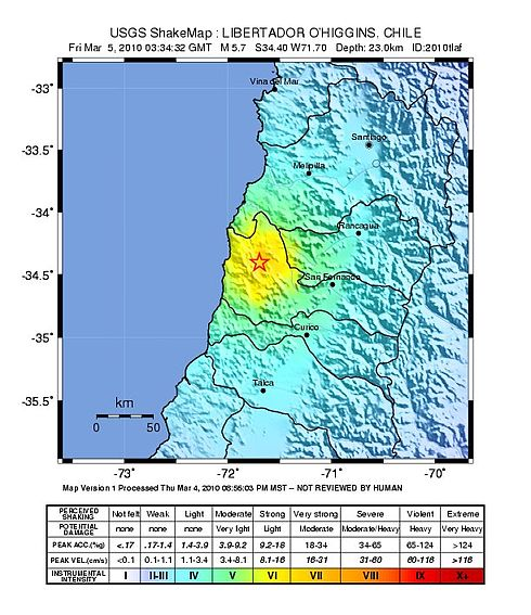 A strong aftershock was originated around Pichilemu, in March 5, 2010, 12:34:32 AM at epicenter (03:34:32 AM UTC). Image: USGS.