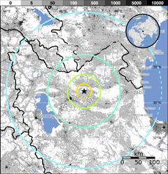 2012 Iran earthquake 6,3 - Population Exposure.png