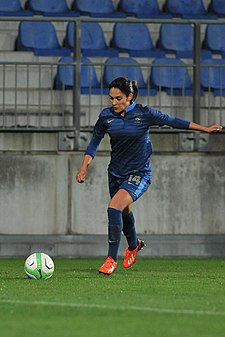 Necib - pictured playing for France in a match against Austria in 2013 - has drawn praise in the media for her elegance on the ball, as well as her vision and passing ability. 20131031 FR14 Louisa Necib 9332.jpg